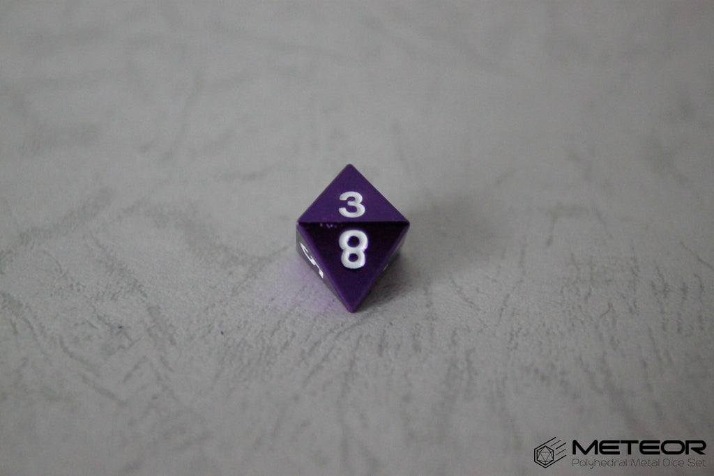 D8 Meteor Polyhedral Metal Dice- Purple