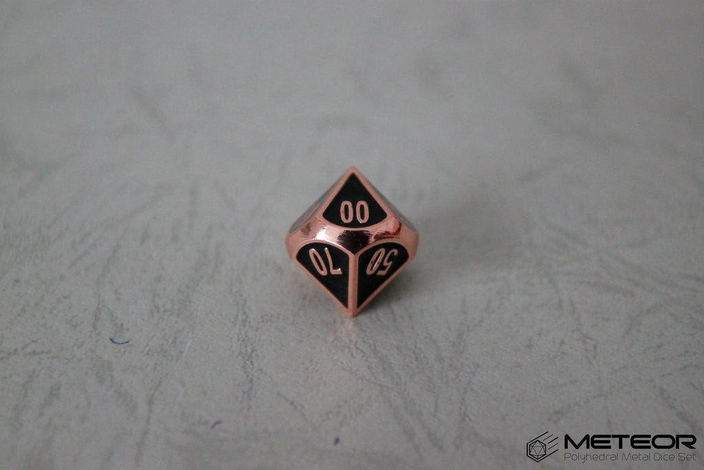D% Meteor Polyhedral Metal Dice- Black Copper Frame
