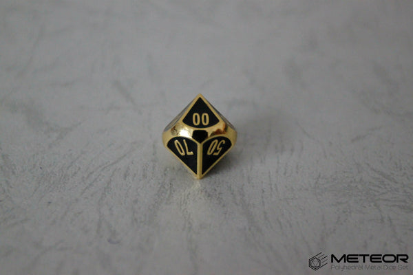 D% Meteor Polyhedral Metal Dice- Black Golden Frame