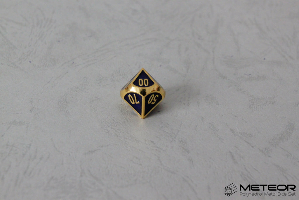 D% Meteor Polyhedral Metal Dice- Blue with Golden Frame