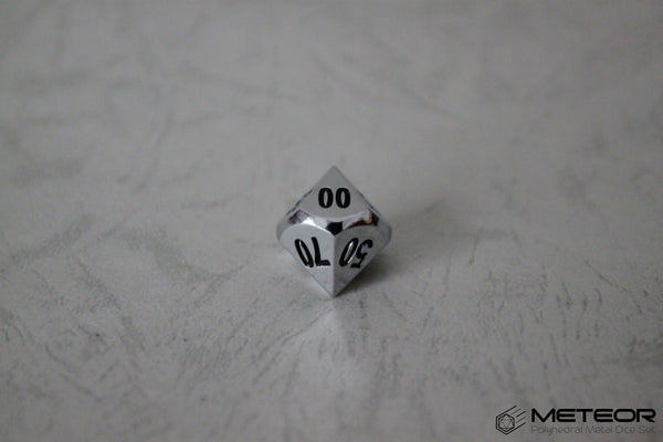 D% Meteor Polyhedral Metal Dice- Chrome