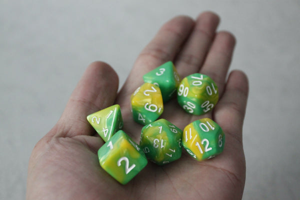D.O.U Plastic Polyhedral Set - Duo Colors Series - Green & Yellow