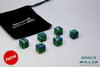 A 6 Dice Set of Space Roller Dice MK II Set - Green Groove Navy Blue Finish