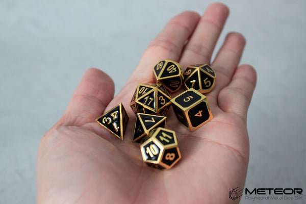 Meteor Polyhedral Metal Dice- Black with Golden Frame