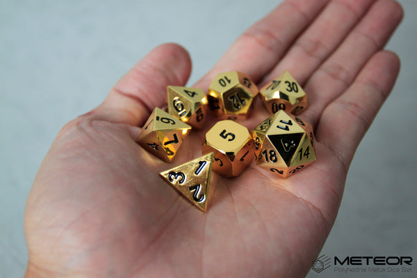 Meteor Polyhedral Metal Dice Set- Gold