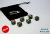 A 6 Dice Set of Space Roller Dice MK II Set - Green Groove Purple Finish