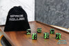 A 6 Dice Set of Space Roller Dice MK II Set - Green Groove Black Finish