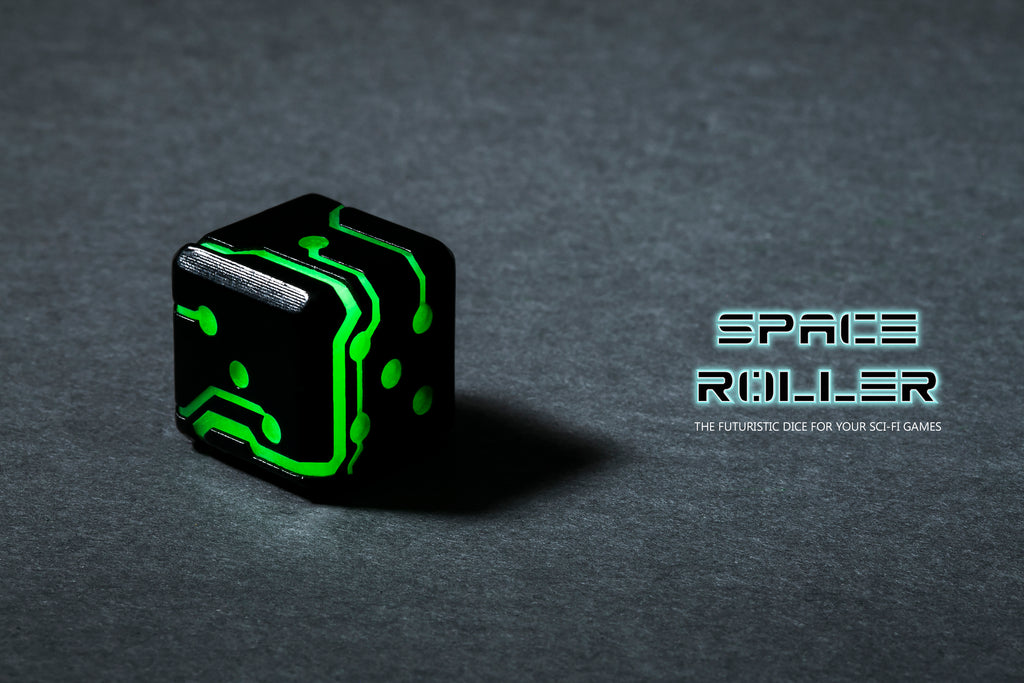 Space Roller Dice - Green Glow Black Finish
