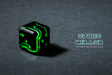 Green Glow Black Finish Space Roller Dice