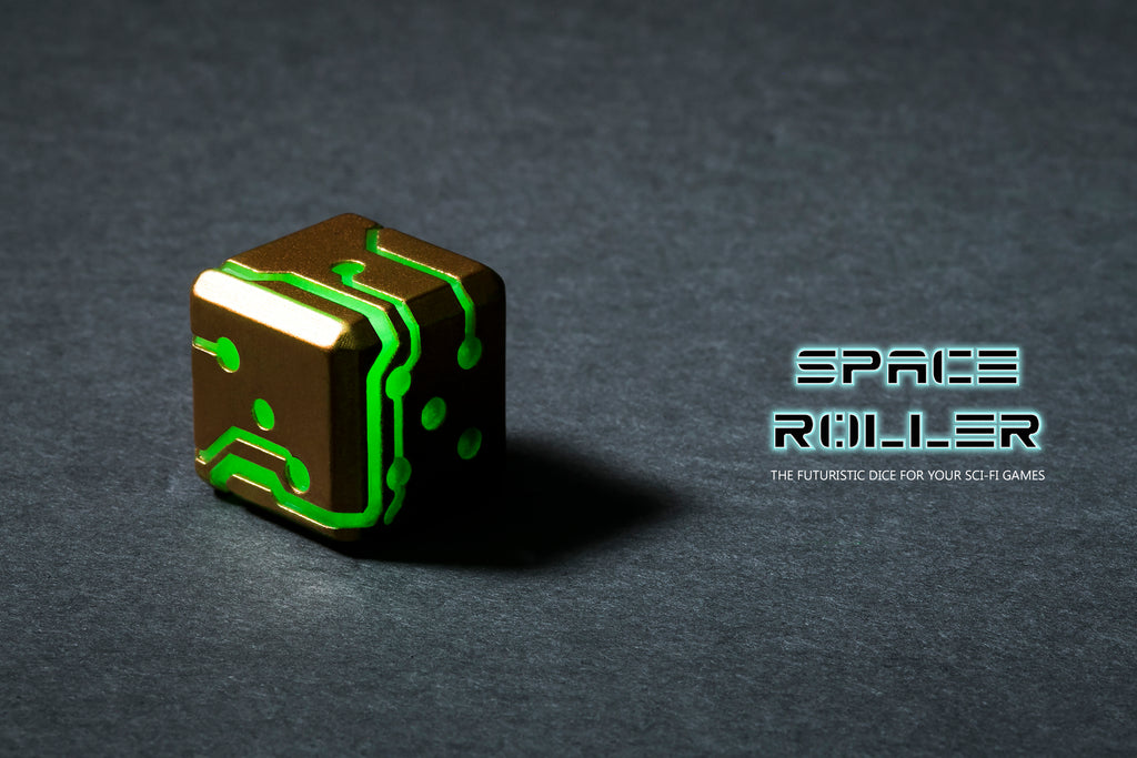 Space Roller Dice - Green Glow Bronze Finish