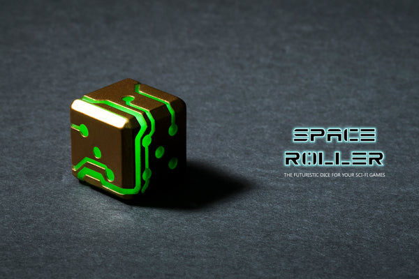 Green Glow Bronze Finish Space Roller Dice