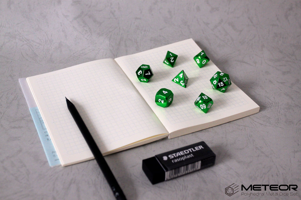 Meteor Polyhedral Metal Dice Set- Green