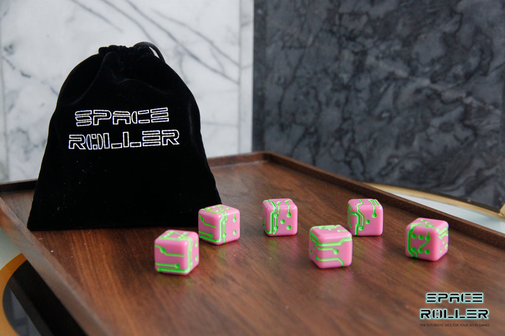 A 6 Dice Set of Space Roller Dice MK II Set - Green Groove Pink Finish