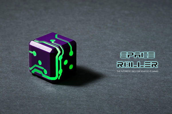 Space Roller Dice - Green Glow Purple Finish
