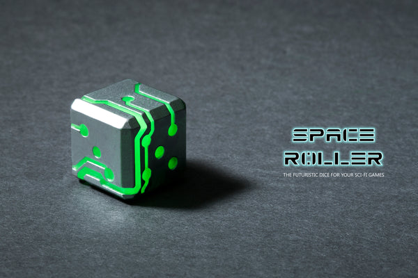 Space Roller Dice - Green Glow Silver Finish