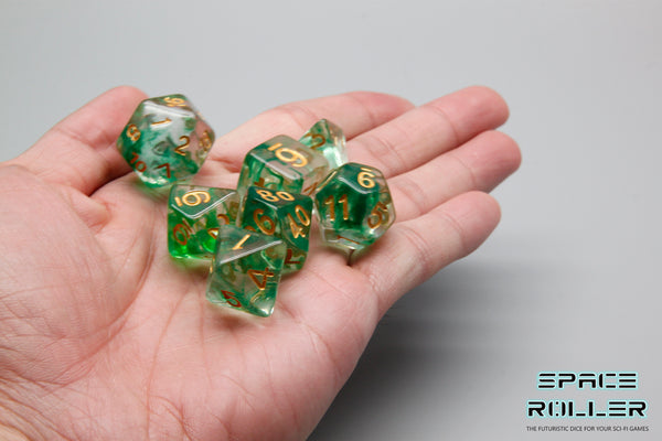 Plastic Polyhedral Set - Freeze Moment Series - Green