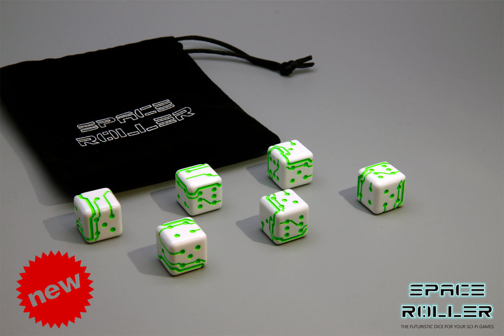 A 6 Dice Set of Space Roller Dice MK II Set - Green Groove White Finish