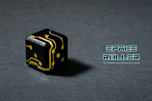 Space Roller Dice - Orange Glow Black Finish