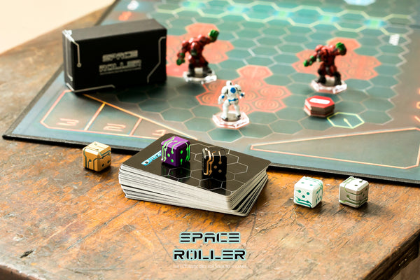 Space Roller Dice - Blue Glow Silver Finish