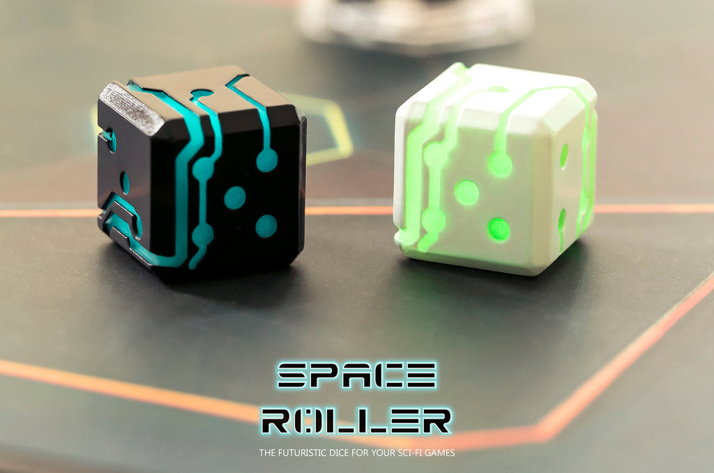 Space Roller Dice - Green Glow White Finish ( Discontinued )