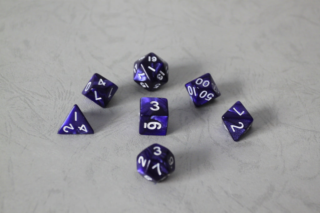 D.O.U Plastic Polyhedral Set - Diamond Dust Series - Purple