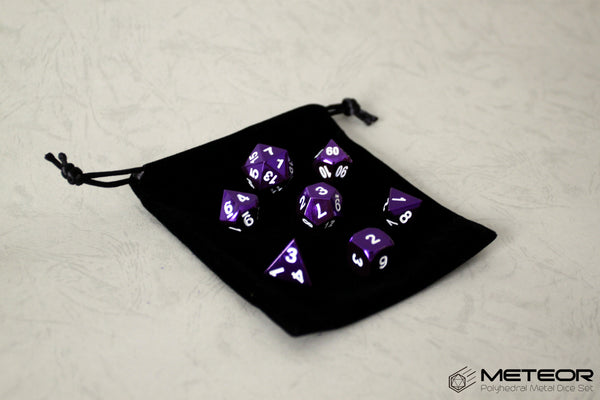 Meteor Polyhedral Metal Dice- Purple