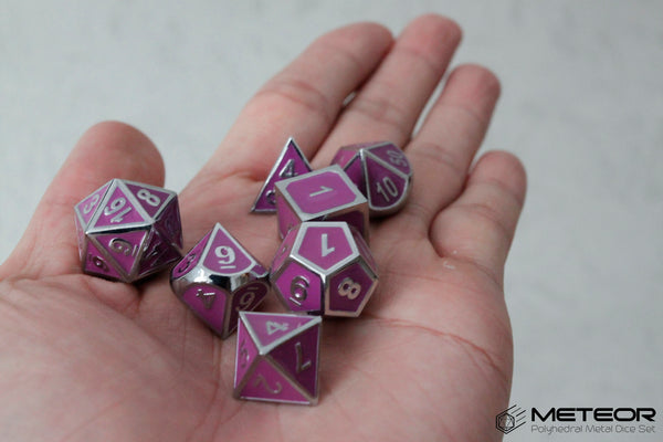Meteor Polyhedral Metal Dice- Purple with Silver Frame