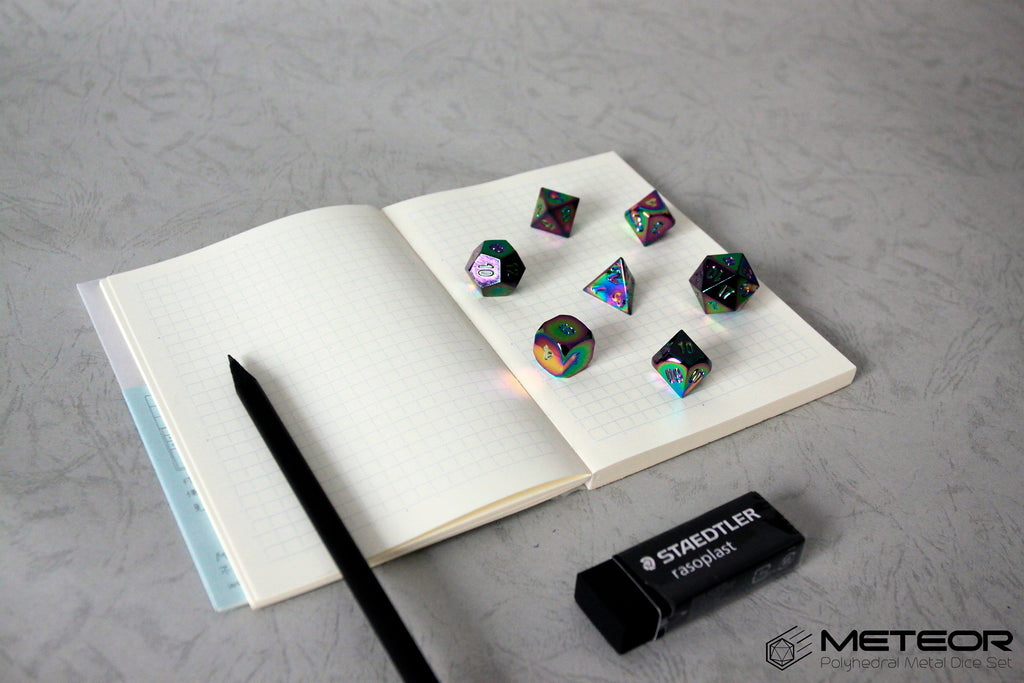 Meteor Polyhedral Metal Dice Set- Rainbow