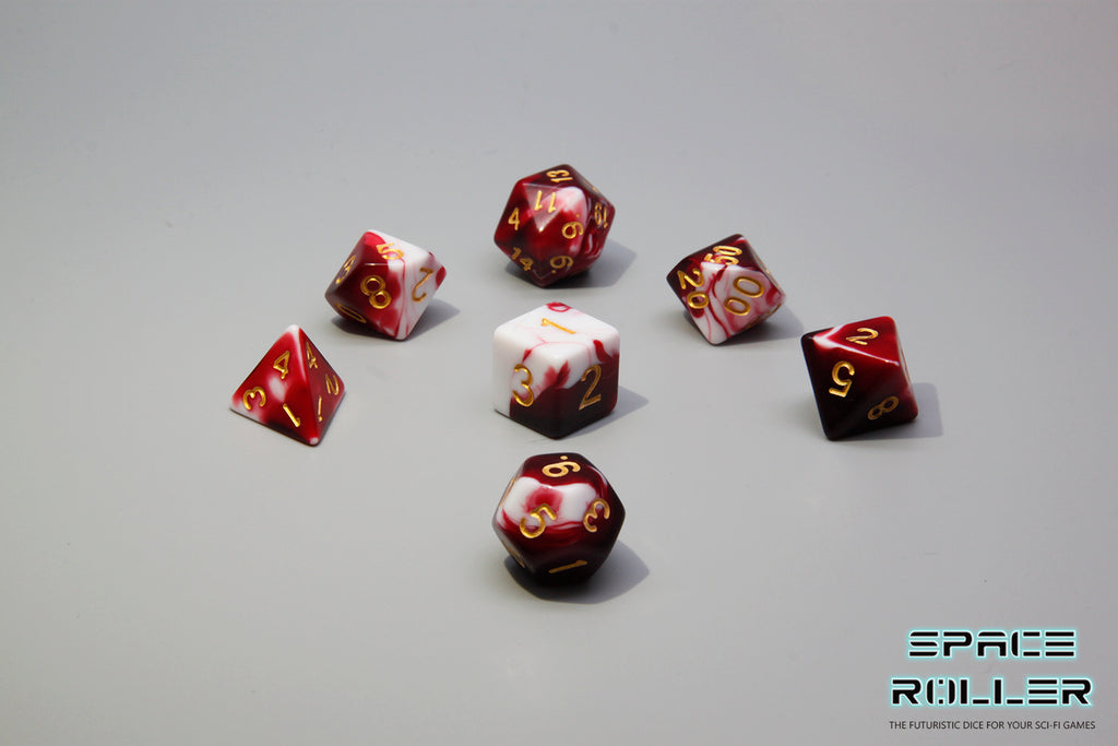 D.O.U Plastic Polyhedral Set - Marbelous Series - Red