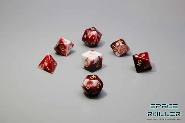 Plastic Polyhedral Set - Marbelous Series - Red
