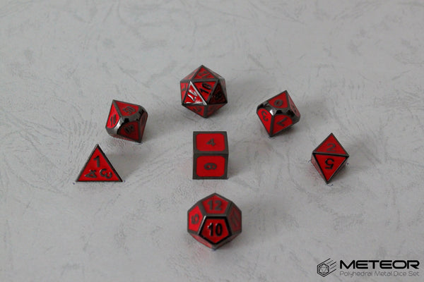 Meteor Polyhedral Metal Dice Set- Red with Metallic Gray Frame