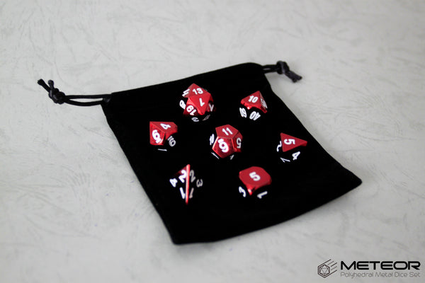 Meteor Polyhedral Metal Dice- Red