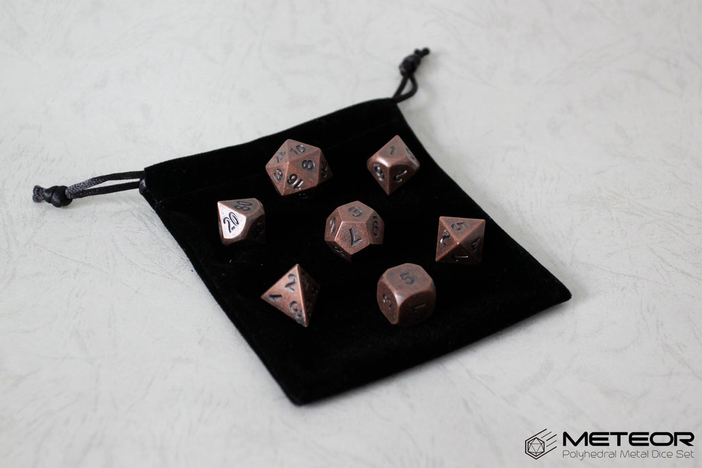 Meteor Polyhedral Metal Dice Set- Rusty Copper