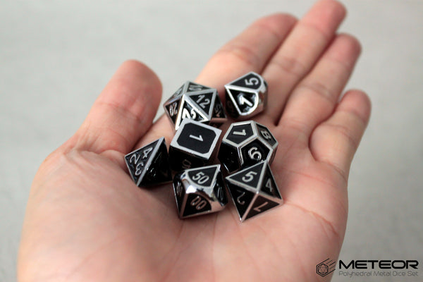 Meteor Polyhedral Metal Dice- Black with Silver Frame