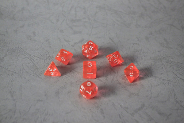D.O.U Plastic Polyhedral Set - Transparent Series - Neon Orange