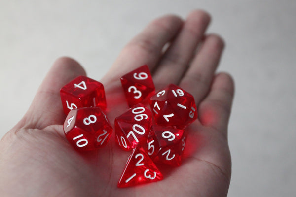 D.O.U Plastic Polyhedral Set - Transparent Series - Red