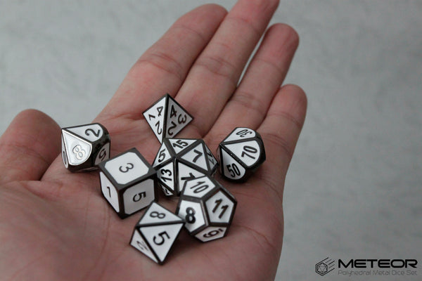 Meteor Polyhedral Metal Dice Set- White with Metallic Gray frame