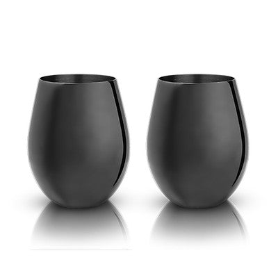 Viski Gunmetal Stemless Wine Glasses, Pair