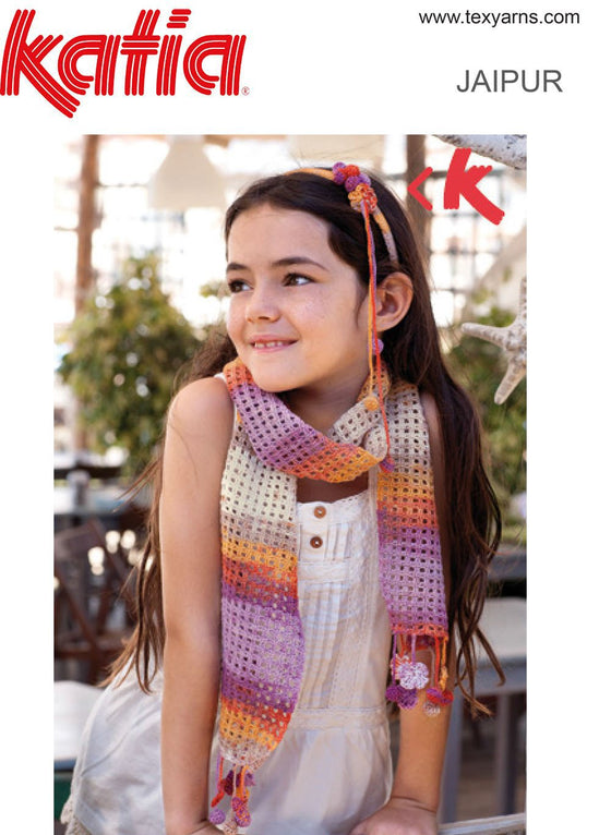 TX089 Jaipur Crochet Childs Scarf & Headband