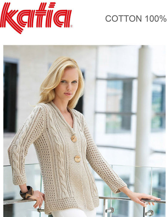 TX095 100% Cotton Cable & Lace Cardigan