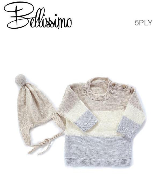 TX347 Bellissimo 5 Baby Stripe Sweater & Aviator Hat