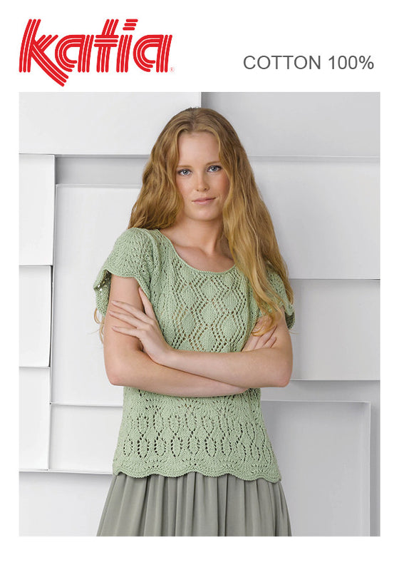 TX511 Cotton 100% Lacy Round Neck Top