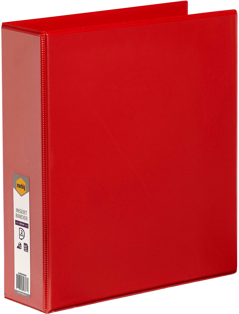 Marbig Insert Binder A4, 2 D-Ring 50mm Red Each