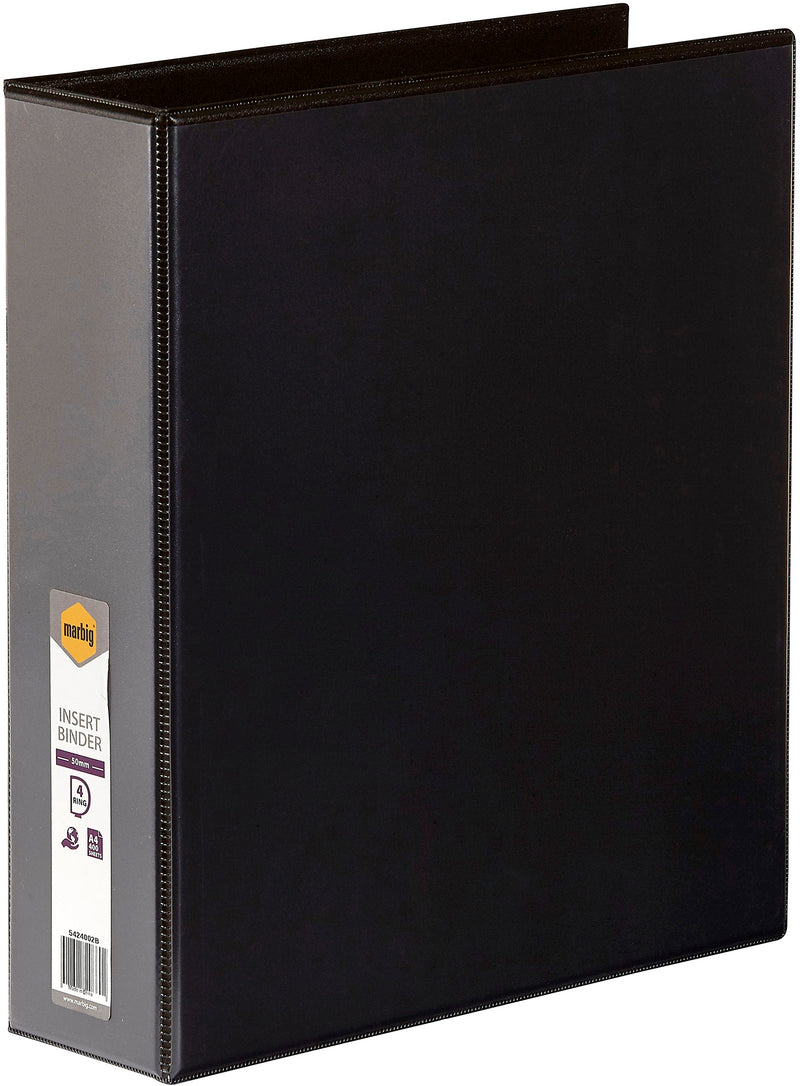 Marbig Insert Binder A4, 4 D-Ring 50mm Black Each