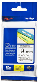 Brother TZ221 Black on White 9mm x 8m Label Tape