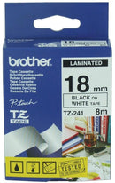Brother TZ241 Black on White 18mm x 8m Label Tape