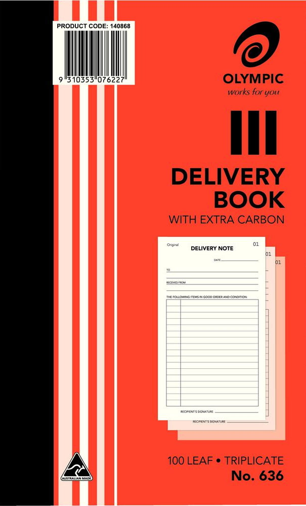 Olympic Delivery Book 636 Triplicate 8x5 100 Leaf