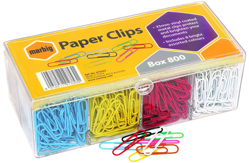 Marbig Paper Clips 33mm Coloured 800 Pack