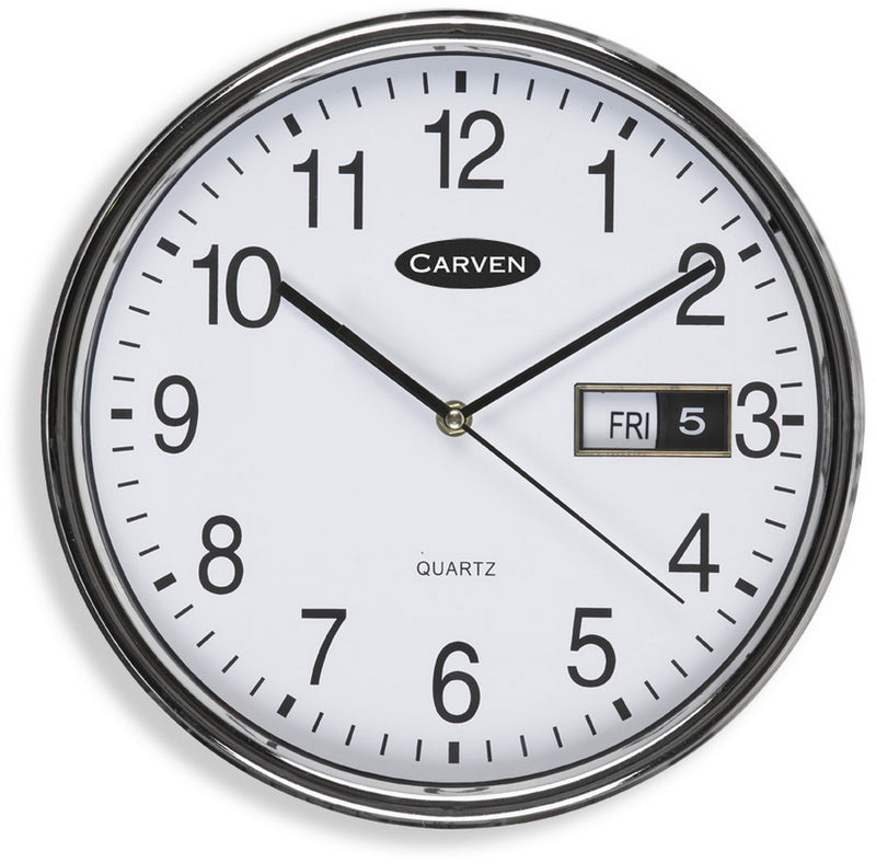 Carven Wall Clock CL285SDATE Round Day/Date 285mm Silver Rim Each