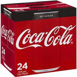 Coca-Cola No Sugar Coke Soft Drink 375ml Cans Carton of 24